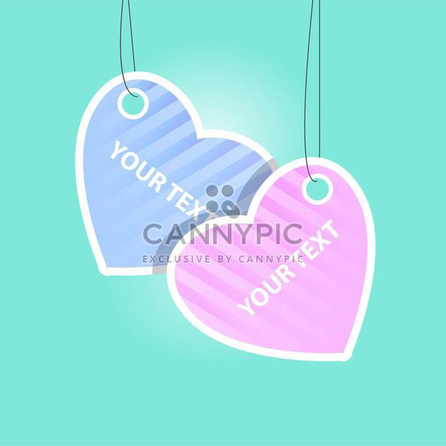 Vector heart labels on blue background with text place - Free vector #127318