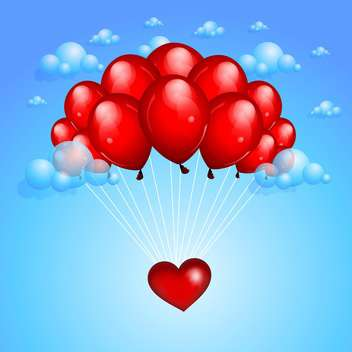holiday background with red balloons for greeting card - vector gratuit #127378
