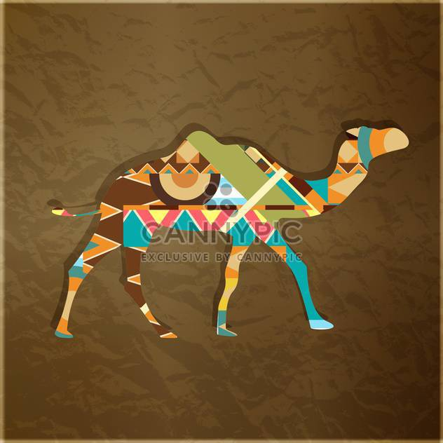 Camel decorative silhouette ornament on brown background - Free vector #127568