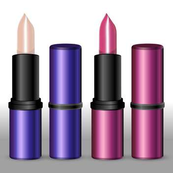Vector illustration of female lipsticks on white background - vector gratuit #127588