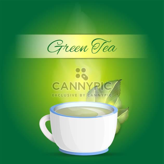 Tasse grüner Tee mit Text Platz auf grünem Hintergrund - Free vector #127658