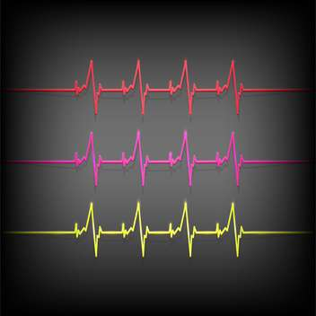 colorful heartbeat medical elements on dark background - бесплатный vector #127678