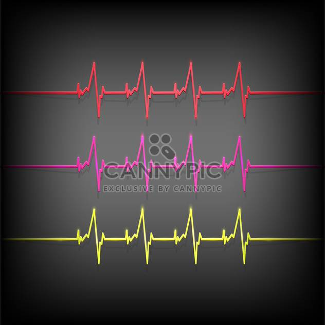 colorful heartbeat medical elements on dark background - Free vector #127678