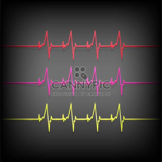 Bunte Herzschlag medizinische Elemente auf dunklem Hintergrund - Kostenloses vector #127678