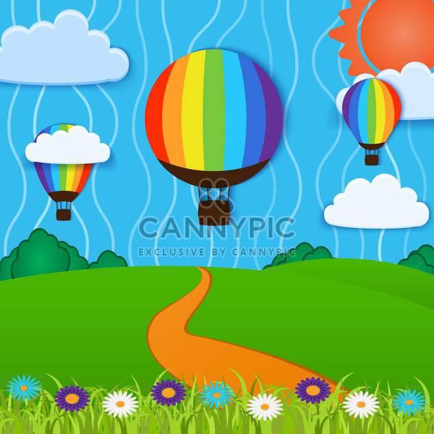 Vektor-Illustration von Heißluftballons in den Himmel - Free vector #127688