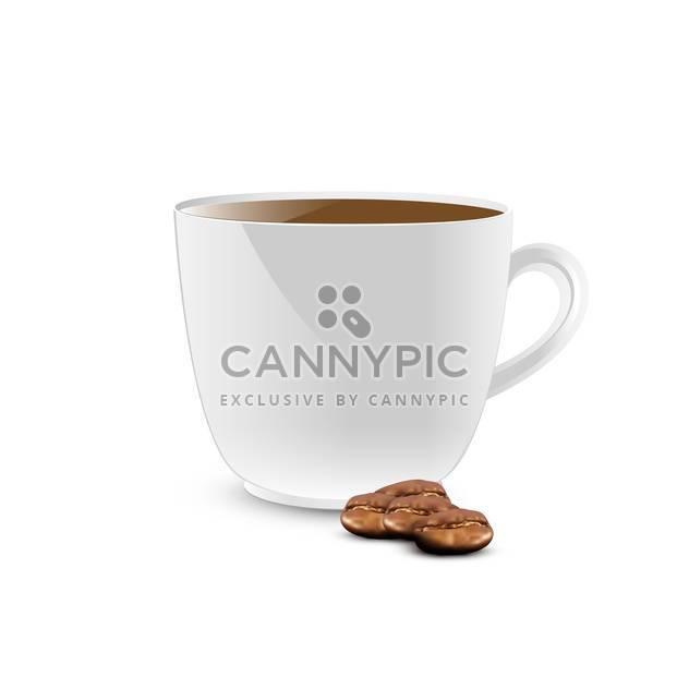 weiße Farbe Kaffee Tasse mit Bohnen auf weißem Hintergrund - Kostenloses vector #127828
