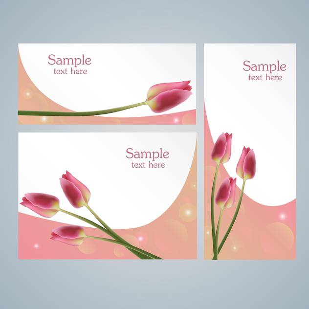 Brochure template cards with pink tulips on grey background - бесплатный vector #127858