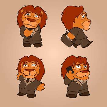 vector set of lion businessmen - Free vector #127878