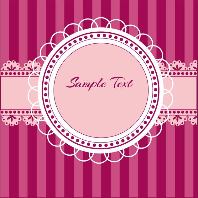 vector illustration of pink birthday background with round shaped lace and text place - vector gratuit #127938