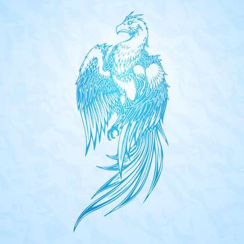 vector illustration of phoenix bird on blue background - vector gratuit #127958