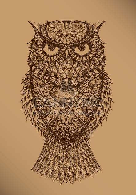 vector illustration of drawing owl on brown background - Free vector #127968