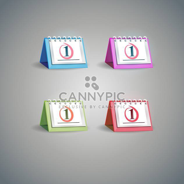 vector illustration of calendar set on grey background - Free vector #128028