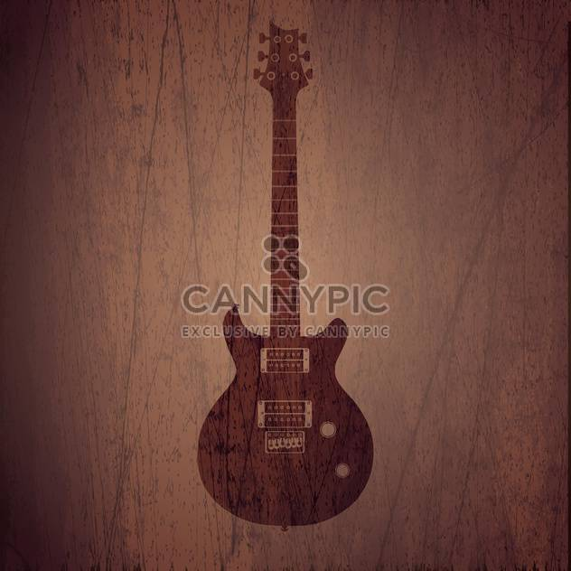 Vector wooden background with electric guitar - Free vector #128098