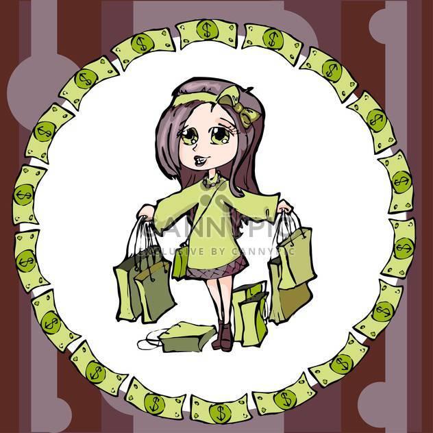 bunte Illustration des Einkaufs Mädchen - Kostenloses vector #128118