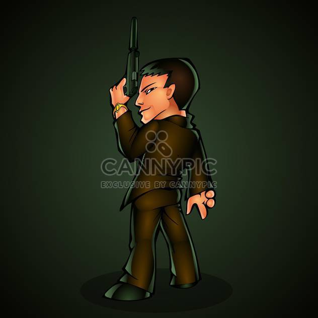 Killer with a gun, vector illustration. - Free vector #128138