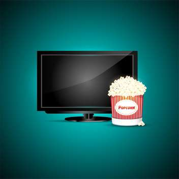 television with popcorn, vector icons, on green background - vector gratuit(e) #128258