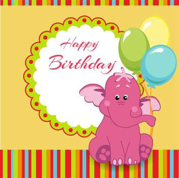 Happy birthday greeting card with pink elephant - vector #128328 gratis