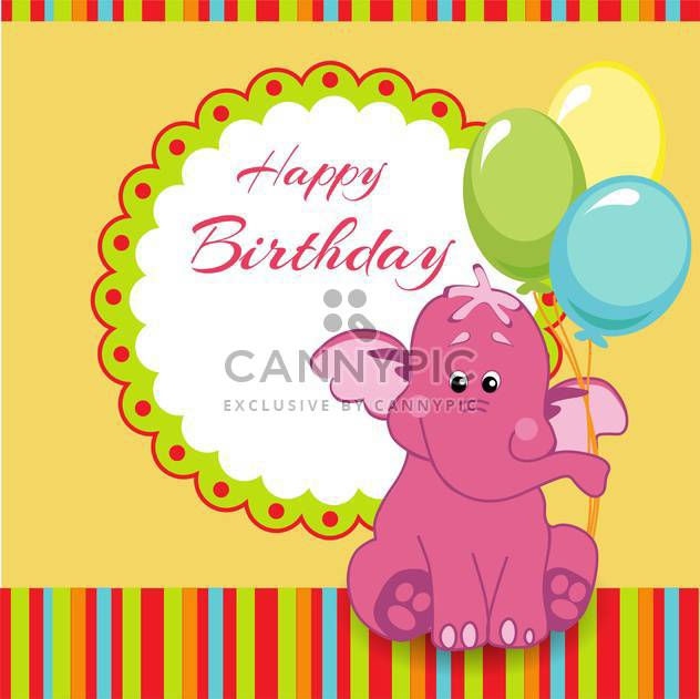 Happy birthday greeting card with pink elephant - Free vector #128328