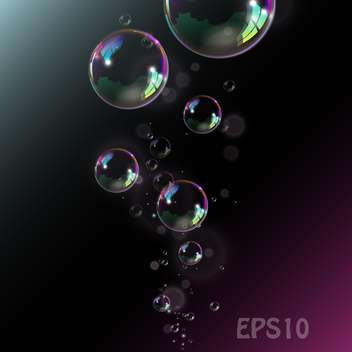 Soap bubbles illustration on black background - vector gratuit #128388