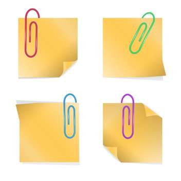 Yellow empty sticky notes with staples - vector gratuit #128398