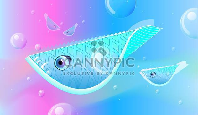 Vector illustration of fishes floats on the sea - Free vector #128458