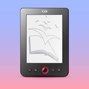 Vector illustration of E-reader with book and birds illustration - Free vector #128648