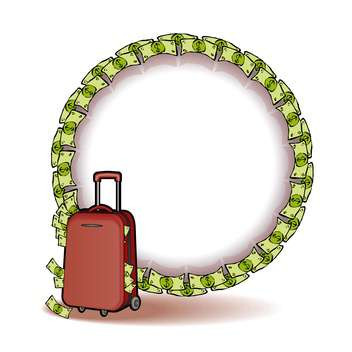 Vector illustration of suitcase with money and copy space - Free vector #128668