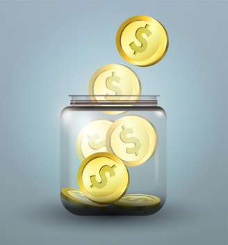 Vector illustration of moneybox with golden dollar coins - vector gratuit #128718
