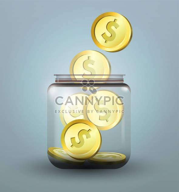Vector illustration of moneybox with golden dollar coins - Free vector #128718
