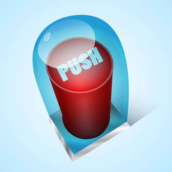Vector push red button under glass - vector #128758 gratis