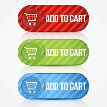 Vector set of add to cart buttons with shopping cart - vector gratuit #128778