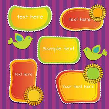 Vector set of sunny floral frames with birds - vector gratuit #128788