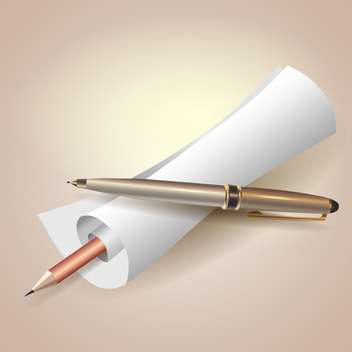 paper scroll with pen and pencil - vector gratuit #129088
