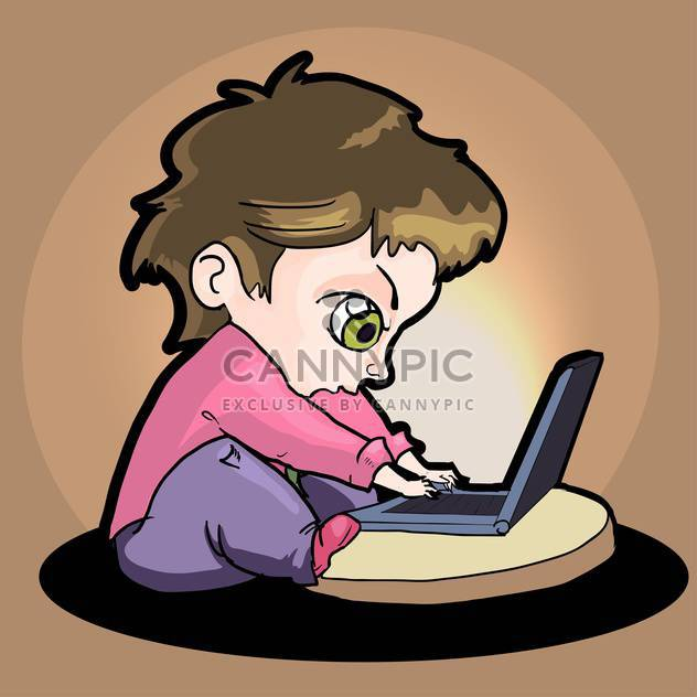 Vektor-Cartoon-Junge mit laptop - Kostenloses vector #129198