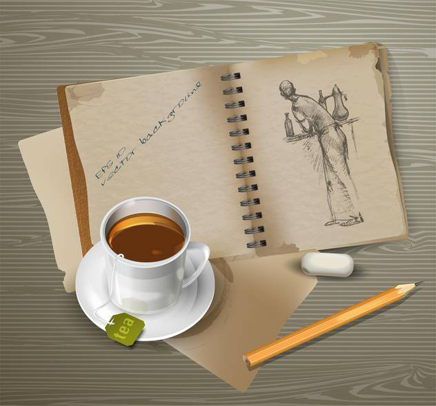drawings with cup of tea, pencil and eraser - vector #129218 gratis