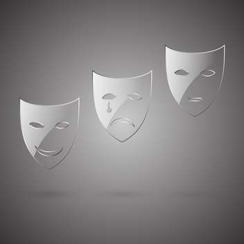 comedy and tragedy face masks set - бесплатный vector #129278