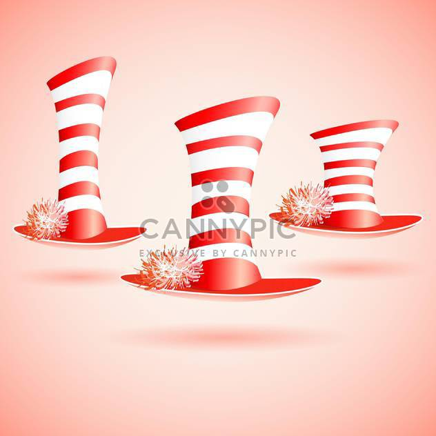 Vector illustration of three striped top hats - Free vector #129348