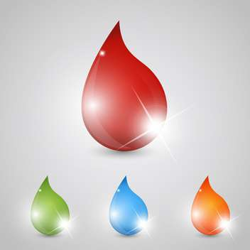 Vector set of glossy colorful drops icons - Free vector #129358