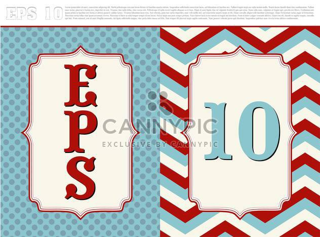 Vector textured vintage frames in red and blue colors - Free vector #129378