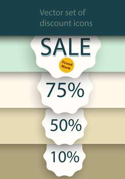 Vector set of sale labels on background with stripes - vector gratuit #129398