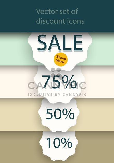 Vector set of sale labels on background with stripes - Free vector #129398