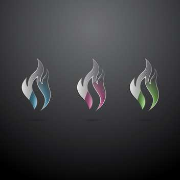 Vector set of glass fire icons on dark background - Free vector #129408