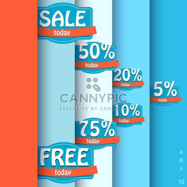 Vector set of sale labels on background with stripes - Free vector #129448