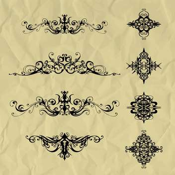Vector vintage elements on crumpled paper background - Free vector #129468