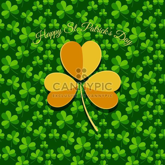 Vector St Patricks Day greeting card with yellow clover leaf - Free vector #129538