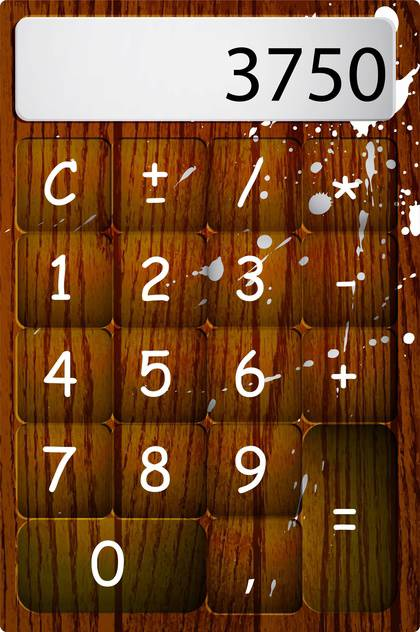 Vector wooden calculator with drops and numbers - vector #129548 gratis