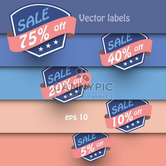 Vector set of vintage shopping sale labels on background with colorful stripes - Free vector #129588