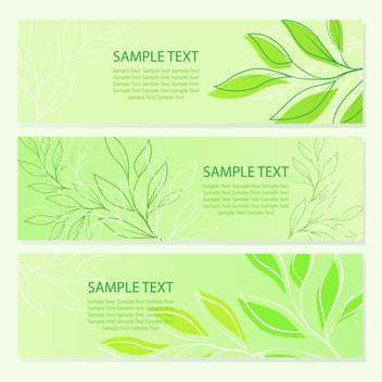 vector illustration of spring green leaves banners. - vector gratuit(e) #129628