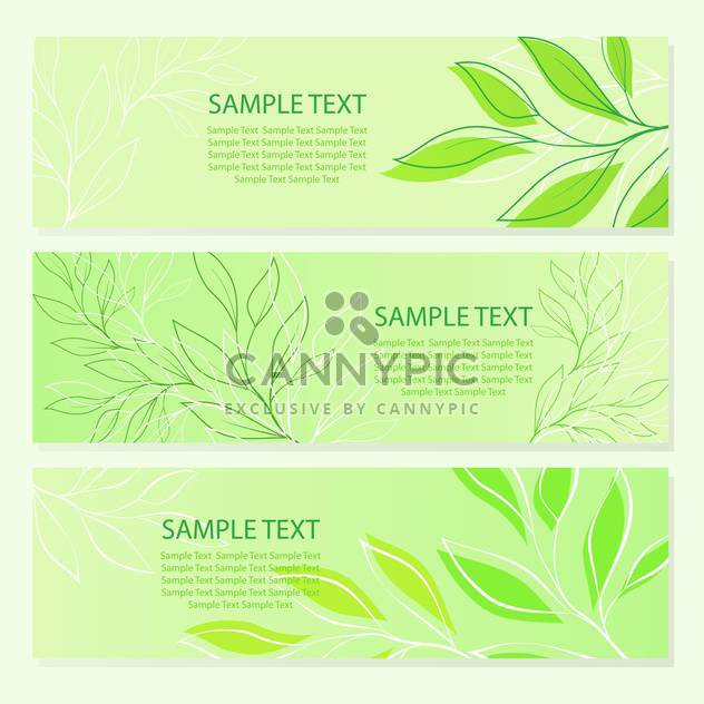 vector illustration of spring green leaves banners. - Free vector #129628