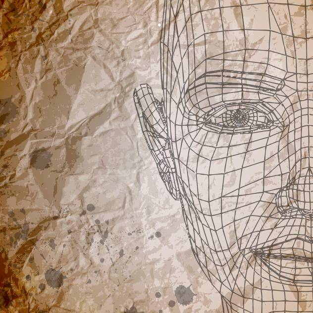 Vector model of face on crumpled paper background - Free vector #129648